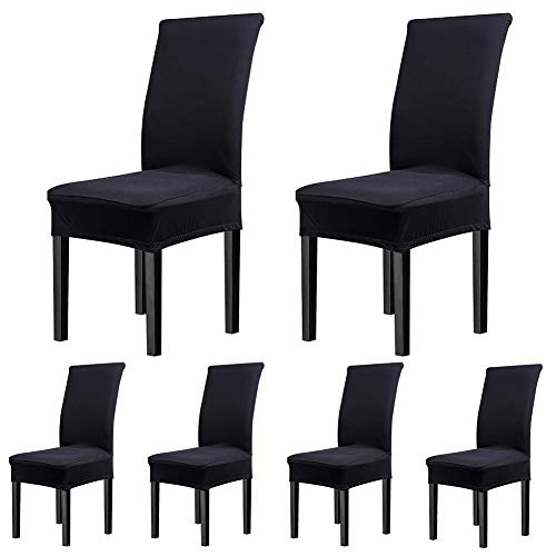 fits for chairs CosyVie Super Fit Universal Stretch Covers, Removable Washable Slipcovers for Dining Room Chairs 6 Pcs/Pack (Classical Black)