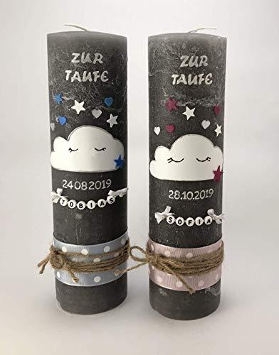 Taufkerze Wolke in Grau mit Name und Datum, Rustikal- Vintage-Design handgemacht rosa oder blau Maße 250 x 70 mm für Jungen und Mädchen