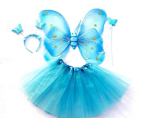 "Tante Tina Costume Bambina ""Farfalla Set di 4 Pezzi - con Ali da Fata o Farfalla - Viola con coroncina"