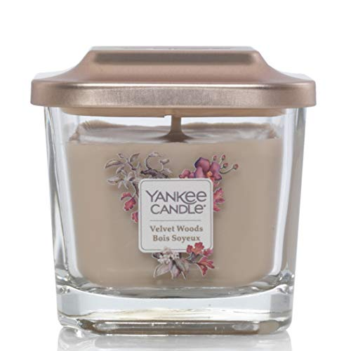 Yankee Candle Elevation Collection con piattaforma coperchio velluto piazza 3-wick Candle, Woods
