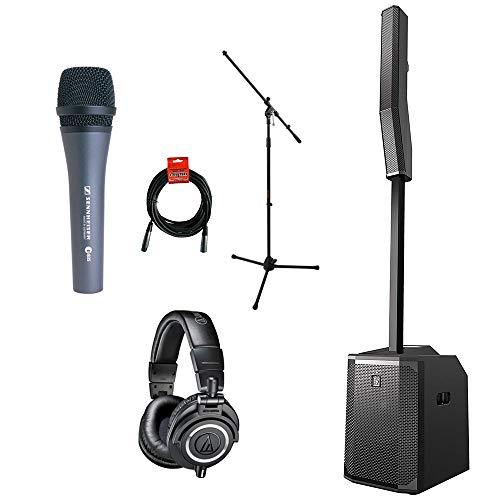 Electro-Voice EVOLVE 50 Portable 1000W Bluetooth Subwoofer & Column Speaker Kit with Audio-Technica ATH-M50x Headphones & Sennheiser E835 Dynamic Vocal Mic Bundle