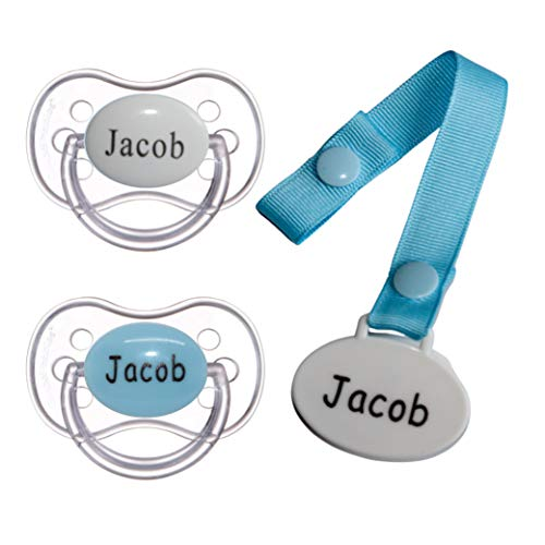 Personalized Pacifier with Name, 2 Pack Blue (0-6 Months)