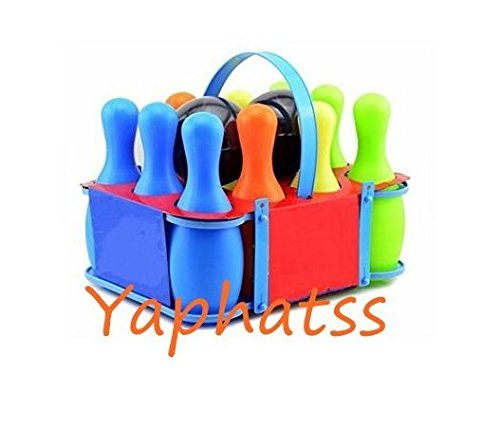Yaphetss Indoor Children Game Bowling Set for Boy Girls Home Outdoor Casual Interaction Educational Toys for Kids Play Clear Plastic Large 10 Pins with Two Balls Bowling Pin Sets