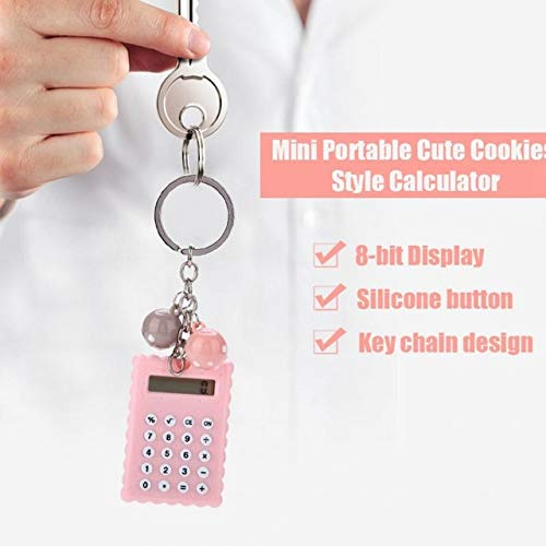 ZUEN Mini Tragbare Taschenrechner Mode Niedlichen Cookies Stil Schlüsselanhänger Taschenrechner 8-Bit-Display Taschenrechner,C