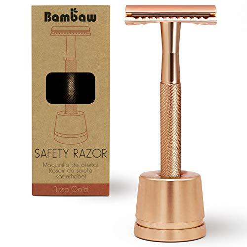 Eco Rasierer Metall | Rasierhobel Rose Gold mit Rasierhobel Ständer | Damen Rasierer Hobel | Rasierhobel Zero Waste | Rasierer Frauen | Rasierer Plastikfrei | Shaving Women | Safety Rasierer | Bambaw