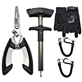 Listenman Fish Hook Remover, Fishing Accessories Kit with Saltwater Resistant Fishing Gear Fishing Pliers, Tungsten Carbide Cutters Split Ring Pliers, Fishing Gloves and Anti-Lose Fishing Lanyard Rope