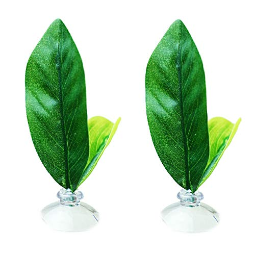 SLSON 2 Pack Betta Fish Hammock,Silk Betta Leaf Hammocks Pad Lounger Toys Plastic Aquarium Plants Accessories for Playing Hideout and Fish Tank Decorations,Green