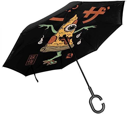 Paraguas invertido de Doble Capa de Yokai Pizza para Manos Plegables invertidas en Forma de C invertidas para automóviles - Ligero y a Prueba de Viento y Ndash;
