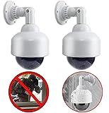 2X Kameras Dummy Speed Dome Überwachungskameras Dummy Attrappe mit Objektiv Kabel mit blinkendem Licht wasserdicht für Innen Aussen hochwertig