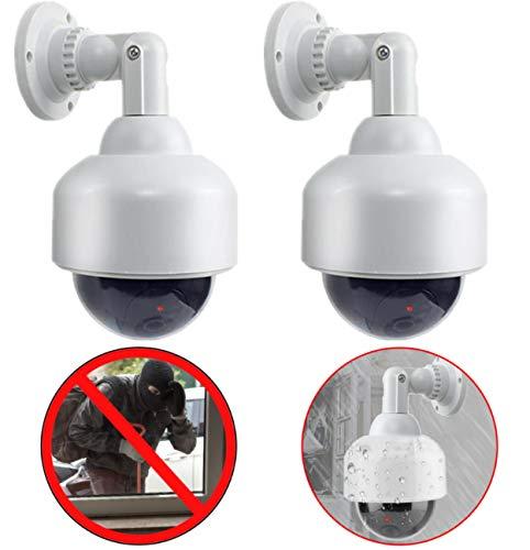 2X Professionelle Speed Dome Überwachungskameras Dummy Outdoor Kameras Dummy Kamera Attrappe mit Objektiv, Kabel und blinkled Videoüberwachung Warensicherung
