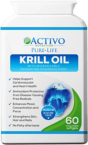 Pure Krill Oil, Super Omega 3 Supports Healthy Heart, Brain, Joint Health, Memory, Focus, Energy, Mood - with Vitamins E A D for Women and Men - 60 Easy Swallow Soft Gel Capsules - Made in UK