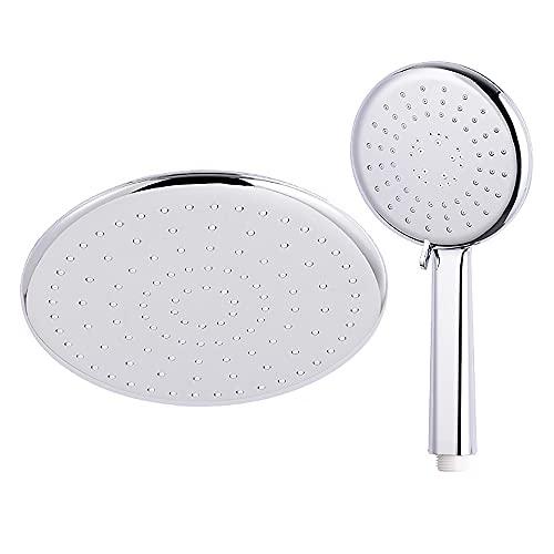 XINYE wuxinye ABS Redondo de plástico Cromo/Blanco Cabezal de Ducha de baño Accesorios de Grifo de baño de baño Superior de baño (Color : Chrome Shower Set)