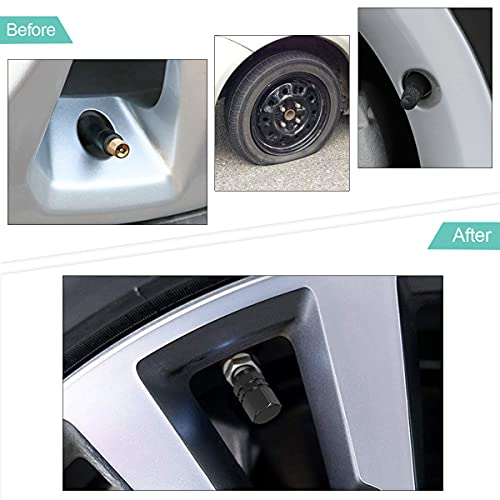 4 PCS Tire Stem Valve Caps Wheel Valve Covers Car Dustproof Tire Cap, Leak-Proof Air Protection Fits Cars, Trucks, Bikes, Motorcycles, Bicycles, Hexagon Shape Design (Black)