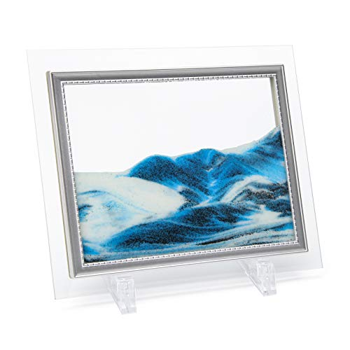 """Coitak Moving Sand Art Picture, Sandscape, Moving Desktop Art for Home Decor and Office, Medium Size 9x7""""(blue)"""