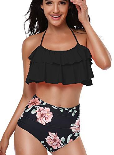 Sixyotie Damen Bikini Sets Hoch taillierte Halter Vintage Badeanzug Plus Größe Push Up Zweiteilige Bademode Strandkleidung (schwarz, EU 34-36(S))