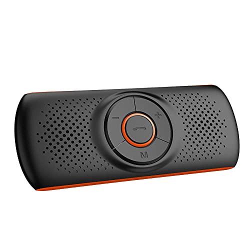 Aigoss Manos Libres para Coche Bluetooth con Siri y Google Assistant, Kit de Coche Altavoz Inalámbrico para Visera, Conexión de 2 Teléfonos Simultáneamente