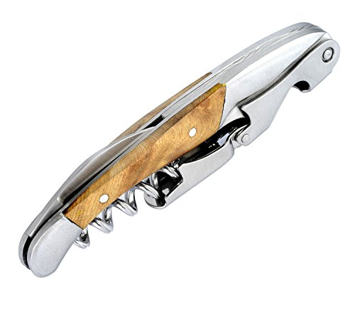 Zehior Professional Corkscrew Wine Bottle Opener,All-in-one Stainless Steel&Wood Wine Key,Foil Cutter,Beer Opener
