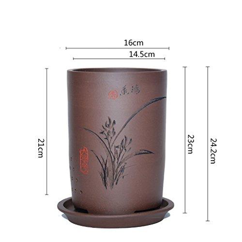 Pot de fleurs BOBE Shop en céramique Chinoise pour orchidée Chlorophytum Clivia en Plein air Salon intérieur Fleur Plante conteneur (Couleur : #2)