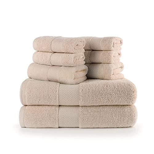Traje de Toalla de algodón de Lujo, 2 Toallas de baño, 2 Toallas de baño, 4 Toallas de Mano, Alta absorción de Agua, Adecuado para baño, Cocina, Gimnasio, Piscina, etc.-Brown