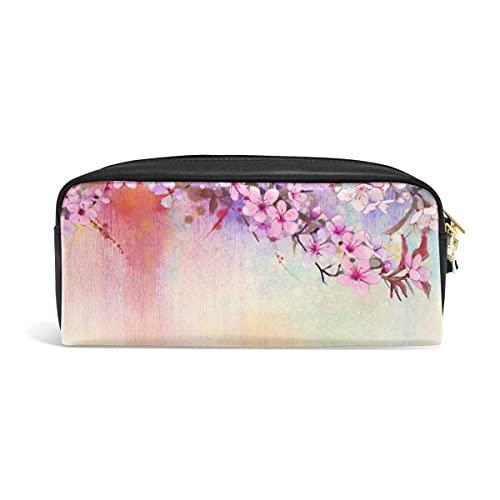 Estuche para lápices lindo Flor de cerezo japonés Estuches para bolígrafos Sakura Organizador Estuche para maquillaje Comestic de cuero PU Estuche para maquillaje, Regalos de regreso a la escuela
