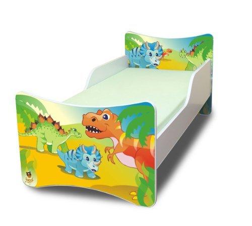 Best For Kids BFK Babybett Kinderbett mit Schaummatratze mit TÜV Zertifiziert Jugendbett 70x140 + Matratze + Lattenrost +WANDAUFKLEBER (Dinosaurier)
