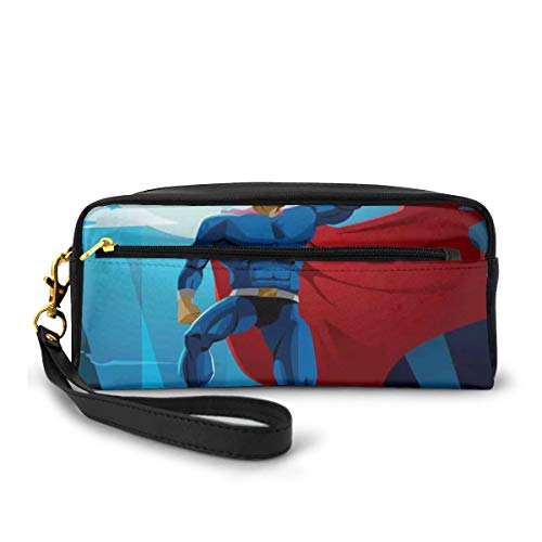 Pencil Case Pen Bag Pouch Stationary,Retro Cartoon Character Hero Saving People from Evil Strong Muscular Man with Cape,Small Makeup Bag Coin Purse
