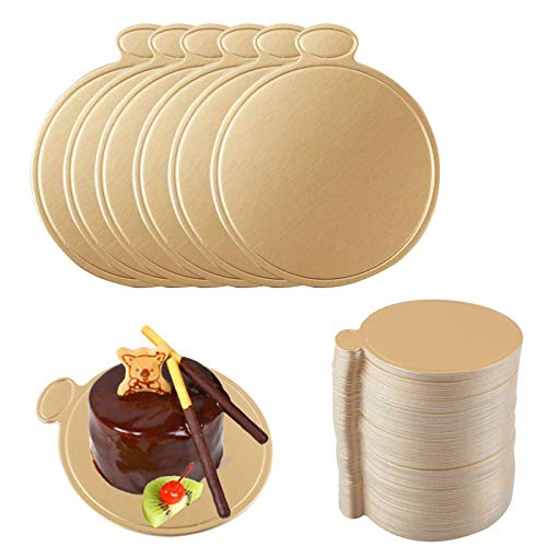 Mini Cardboard Cake Bases, 100pcs Golden Mousse Cake Boards Cake Paper Plates Dessert Board Base Grease for Wedding Birthday (Round)