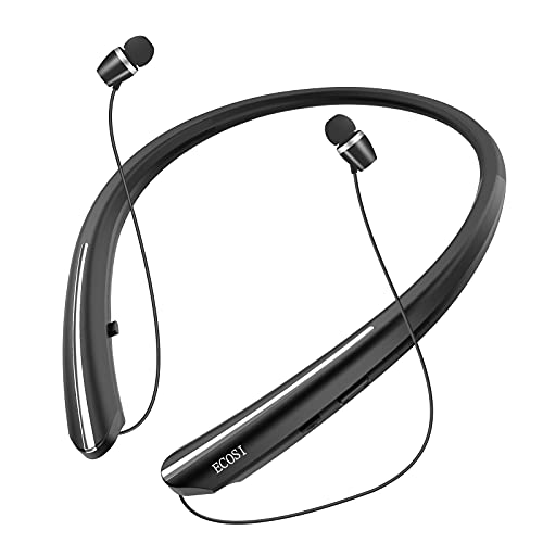 Bluetooth Headphones, ECOSI Bluetooth 5.0 Neckband Wireless Headphones with CVC 8.0 Mic & Retractable Earbuds,Stereo Headset Earphones Compatible with iPhone Sony Samsung LG Android (Black)