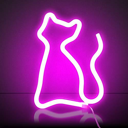XIYUNTE cat luz de neón Señales luminosas LED gato señales de neón Iluminación de ambiente rosado gato Iluminación de interior decoración para el dormitorio infantil, bar, reunirse, navideña