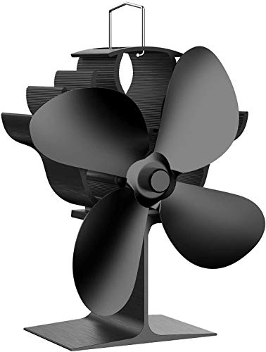 MQQ Holzofenventilator, 4 Klingen Wärmebetriebene Kaminventilator, Silent Wärmebetriebener Holzherd-Fan, Kein Strom erforderlich, for Gas/Pellet/Holz Log Brenner Kamin