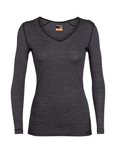 Icebreaker Damen Merino 200 Oasis Longsleeve V-Unterhemd, Damen, Women's 200 Oasis Long Sleeve V, Schwarz/Schnee/Streifen, Large