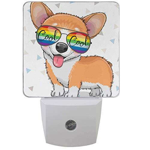 LINGF Cool Cartoon Cute Puppy Corgi mit Sonnenbrille Nachtlicht Set aus 2 Plug-in LED Nachtlichter Auto Dämmerungssensor Lampe für Schlafzimmer Badezimmer Küche Flur