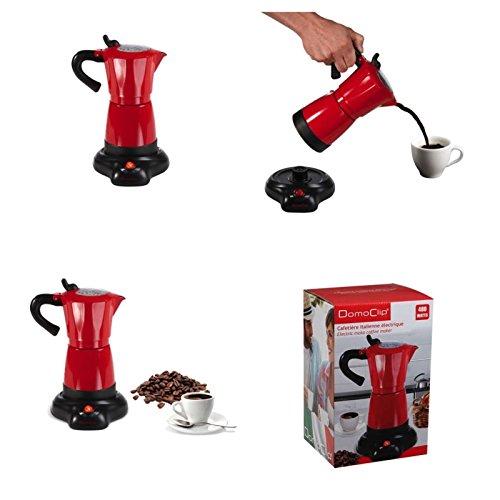 Elektrischer Espressokocher 300 ml in rot Aluminium (Mokka-Kocher, kabellos, Warmhaltefunktion, Espresso-Bereiter, Kaffee-Bereiter, 480 Watt)