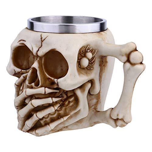 Wakauto Taza de Cráneo de Acero Inoxidable Diseño 3D Calavera Espeluznante Taza de Café Cerveza Stein Jarra de Esqueleto Taza para Beber Decoraciones Espeluznantes para Los Favores de La
