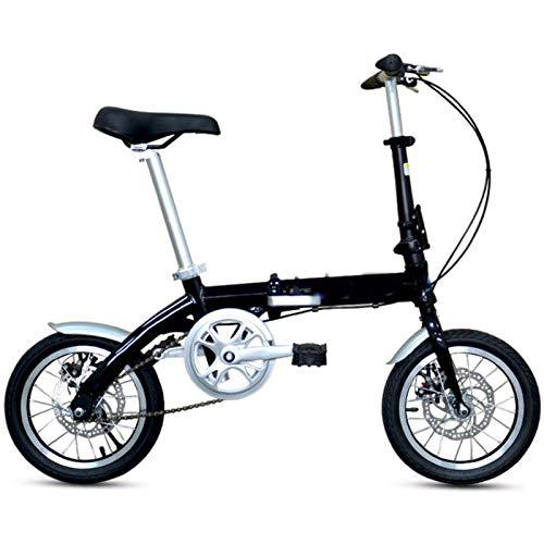 AMEA Bicicletta Pieghevole Bici per Adulti Uomini e Donne, 14 Pollici Ruote Singola velocità Leggero Ciclismo Studenti Ragazze Bambine Urbano Commuter Donna, Carry Posteriore Rack,Nero,14 inch