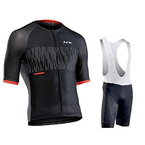 Fxwj Fietsshirt voor heren, mode, fietsshirt, korte mouwen, met 9D gel, fietsbroek, ademend, fietsjas en broek, maat A, M