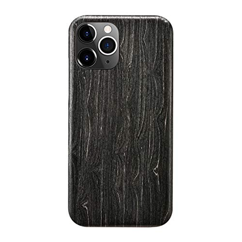 aoji [Bulletproof Aramid Core] Black Ice Wood Real Wood Cover Compatible with iPhone 12 Pro Max,Certified WoodAramid Fiber Ultra Slim Wooden Protective Case Shell Compatible with iPhone 12 Pro Max.
