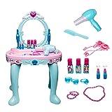 OUY Tocador de Juguete Dresser Princesa Maquillaje Infantil Toy Box Set Simulación Apto for niños de más de 3 años Juego de Mesa de tocador para niños (Color : Blue, Size : 46x32x72cm)