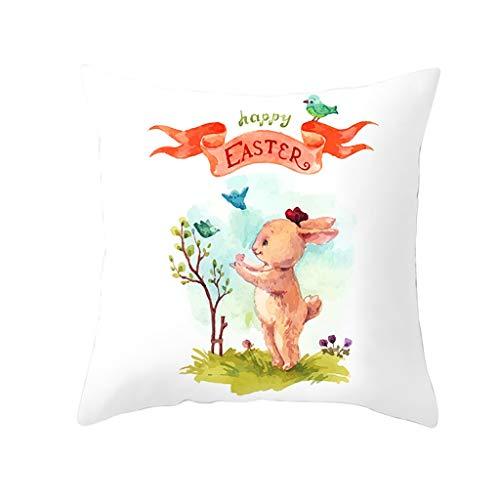 Sylar Funda de Almohada,Funda de cojín de poliéster con Estampado de Conejo de Pascua para sofá, Coche, decoración del hogar