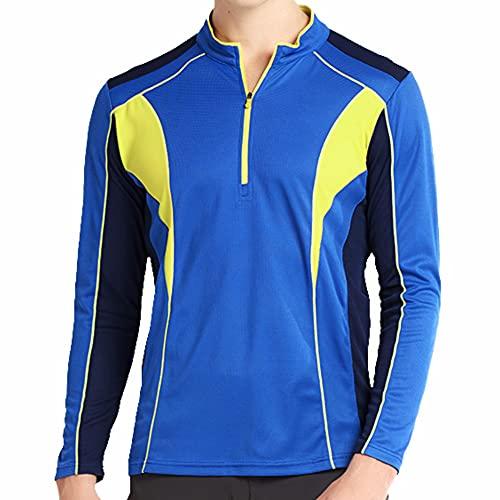 LY4U Magliette per Il Tempo Libero da Uomo Running Gym Maglia da Ciclismo Manica Lunga e Manica Corta Ciclismo Sport con Zip Collo Top Asciugatura Rapida Traspirante Abbigliamento da Corsa