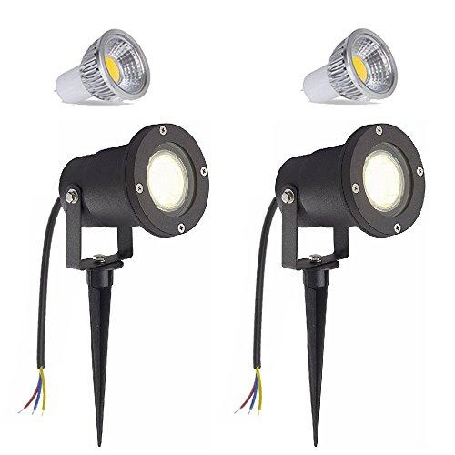 SAILUN 2 x 3W LED lumière de pelouse de jardin avec piquet de terre, noir mat, blanc chaud 85-265V, IP65 imperméable pour paysage de parc d'étang en plein air [classe énergétique A ++]
