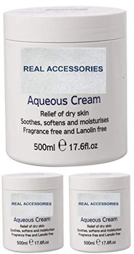 PACK OF 3 X 500ml AQUEOUS CREAM Emollient LARGE TUB | Relief of Dry Skin | Soothes Softens and Moisturises | FRAGRANCE FREE & LANOLIN FREE CREAM Dry Skin Moisturiser Cream
