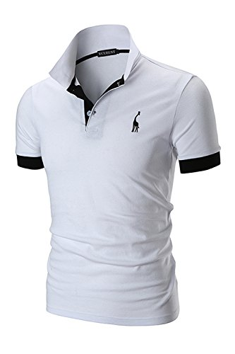 YCUEUST Hommes Cotton Basic Manche Courte Casual Polo...