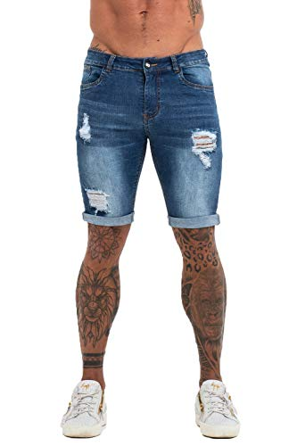 GINGTTO Ripped Shorts for Men Slim Fit Shorts Stretch Denim Short Jeans Pants Blue 34