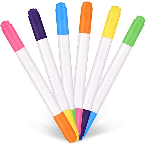 24 Piezas Rotuladores de Neon de Doble Punta Bolígrafos de Neon Coloridos de Arte para Tablero LED Luz Escritura Dibujo Manualidades