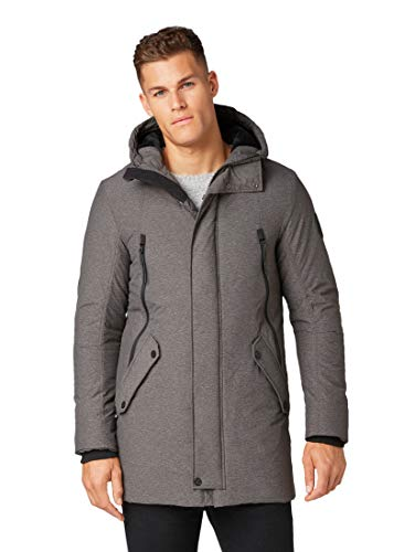 TOM TAILOR Herren Kapuzen Parka, Grau (Grey Structure Puff 13101), XL