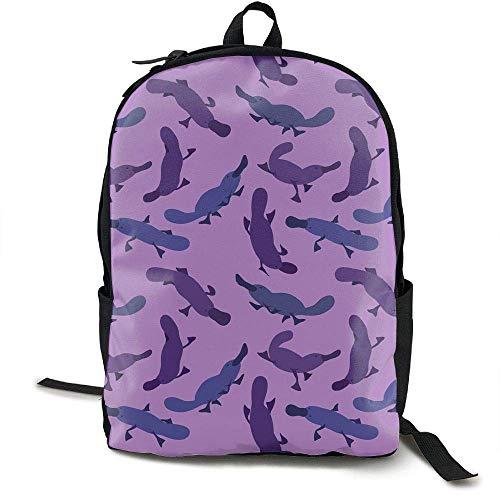 VNFDAS Platypus Rucksack für Erwachsene, mit niedlichem Muster, Violett