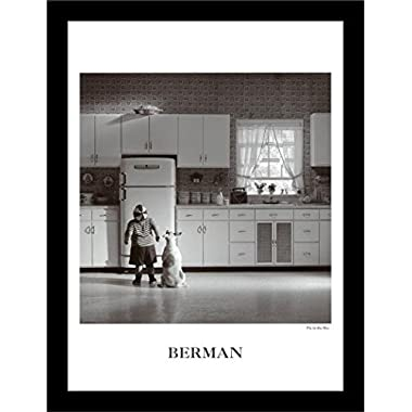 buyartforless FRAMED Pie in the Sky by Howard Berman 24x18 Boy and Dog staring at Pie Photograph Art Print Poster WIDE FRAME