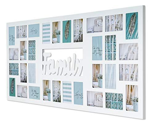 levandeo XXL Bilderrahmen B x H: 139x60cm Holz Weiß Family 32 Fotos 10x15 Fotorahmen Familie