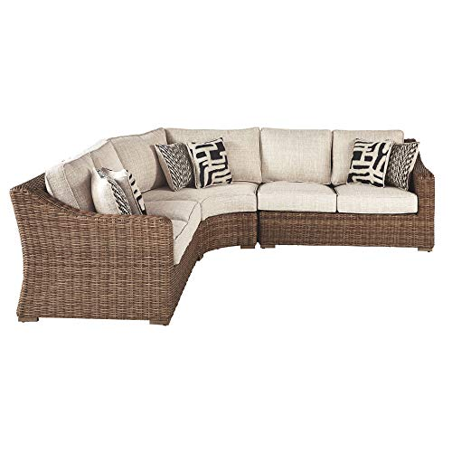Ashley Furniture Signature Design - Beachcroft Outdoor Loveseat Set - Left & Right Arm Facing Loveseats with Cushions - Beige with Beachcroft Outdoor Curved Chair with Cushion - Beige